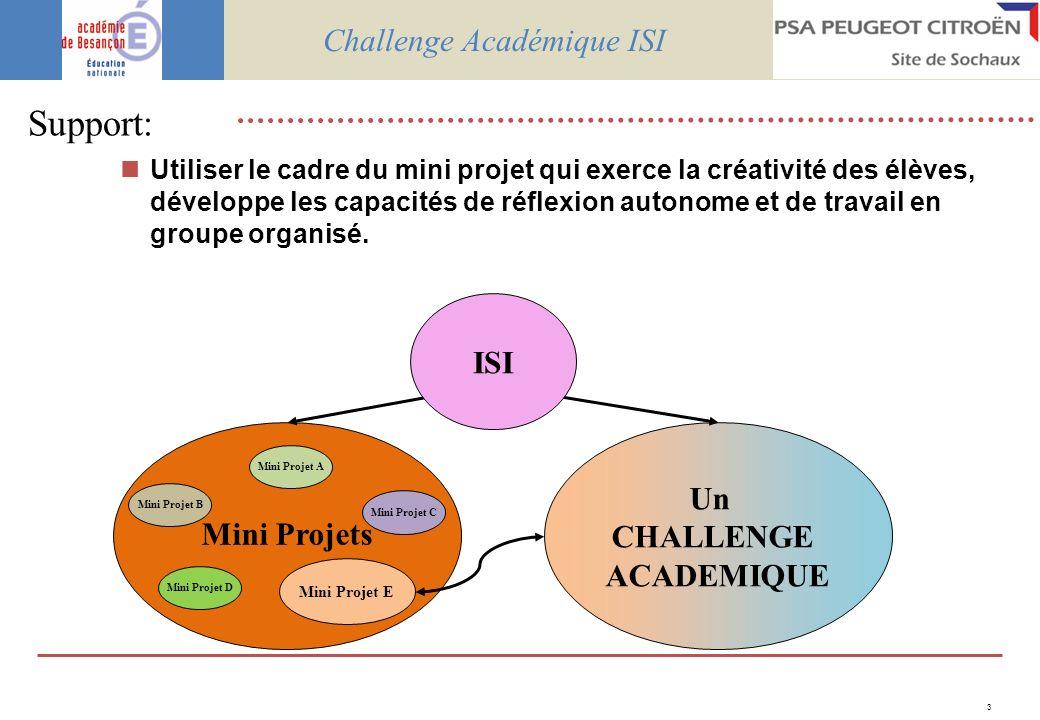 3 Support: Utiliser le cadre du mini projet qui exerce la créativité des élèves, développe les capacités de réflexion autonome et de travail en groupe organisé.