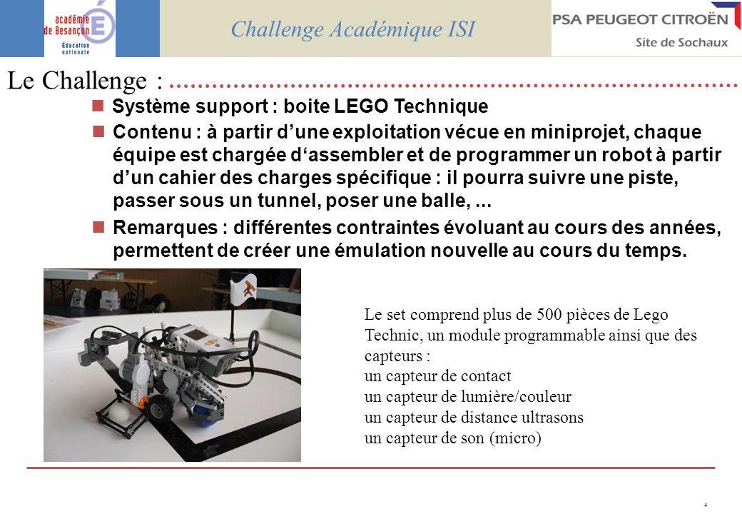 4 Système support : boite LEGO Technique Contenu : à partir dune exploitation vécue en miniprojet, chaque équipe est chargée dassembler et de programmer un robot à partir dun cahier des charges spécifique : il pourra suivre une piste, passer sous un tunnel, poser une balle,...