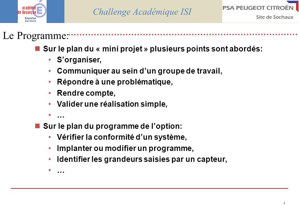 5 Le Programme: Sur le plan du « mini projet » plusieurs points sont abordés: Sorganiser, Communiquer au sein dun groupe de travail, Répondre à une pr