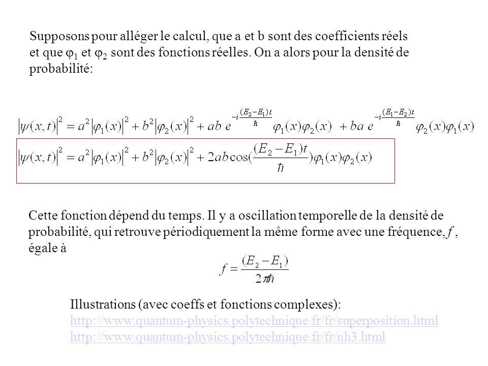 Supposons pour alléger le calcul, que a et b sont des coefficients réels et que 1 et 2 sont des fonctions réelles. On a alors pour la densité de proba