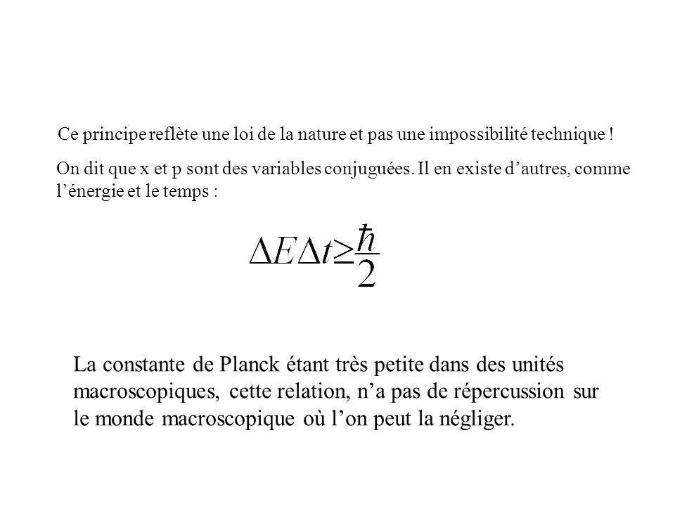 La constante de Planck étant très petite dans des unités macroscopiques, cette relation, na pas de répercussion sur le monde macroscopique où lon peut