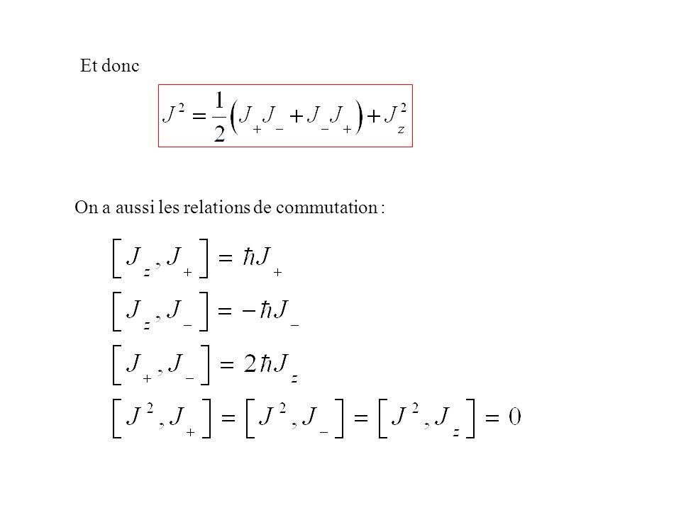 Et donc On a aussi les relations de commutation :