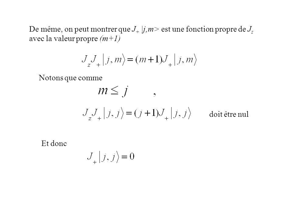 De même, on peut montrer que J + |j,m> est une fonction propre de J z avec la valeur propre (m+1) Notons que comme doit être nul Et donc