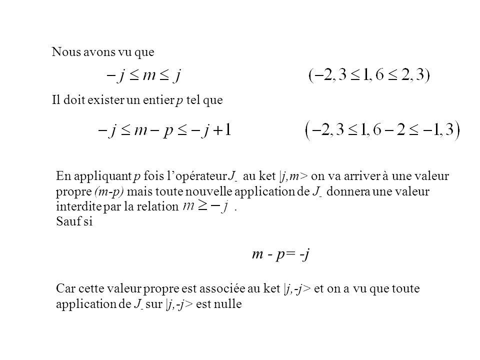 Nous avons vu que Il doit exister un entier p tel que En appliquant p fois lopérateur J - au ket |j,m> on va arriver à une valeur propre (m-p) mais to