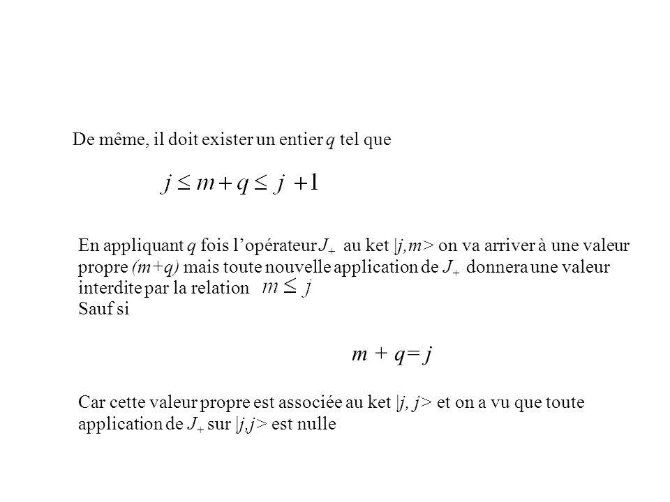De même, il doit exister un entier q tel que En appliquant q fois lopérateur J + au ket |j,m> on va arriver à une valeur propre (m+q) mais toute nouve