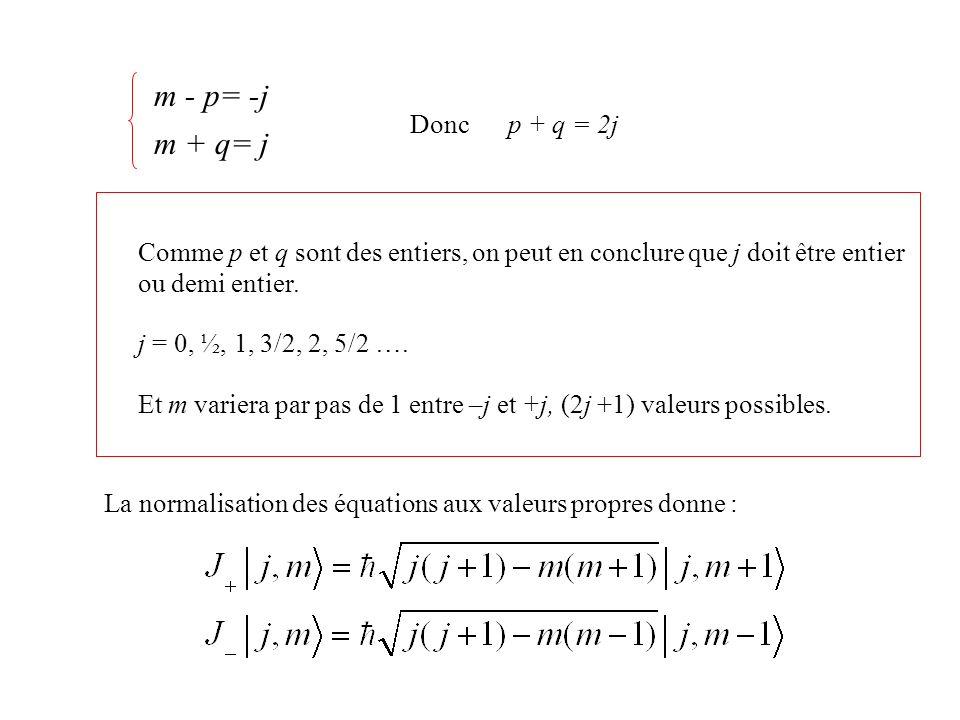 m - p= -j m + q= j Donc p + q = 2j Comme p et q sont des entiers, on peut en conclure que j doit être entier ou demi entier. j = 0, ½, 1, 3/2, 2, 5/2