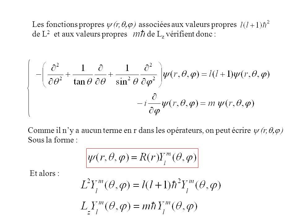 Les fonctions propres (r, ) associées aux valeurs propres de L 2 et aux valeurs propres de L z vérifient donc : Comme il ny a aucun terme en r dans le