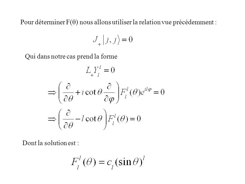 Pour déterminer F( ) nous allons utiliser la relation vue précédemment : Qui dans notre cas prend la forme Dont la solution est :