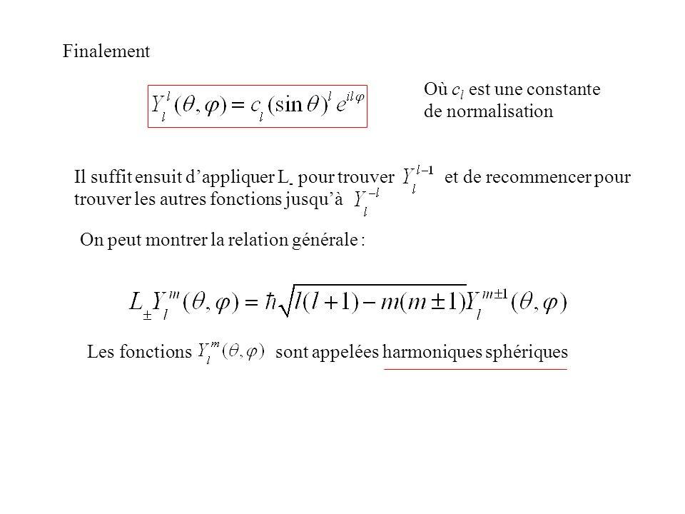 Finalement Où c l est une constante de normalisation Il suffit ensuit dappliquer L - pour trouver et de recommencer pour trouver les autres fonctions