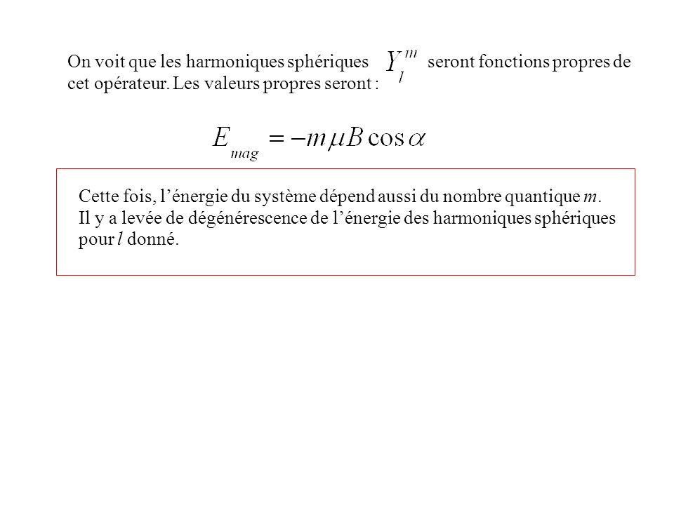 On voit que les harmoniques sphériques seront fonctions propres de cet opérateur. Les valeurs propres seront : Cette fois, lénergie du système dépend