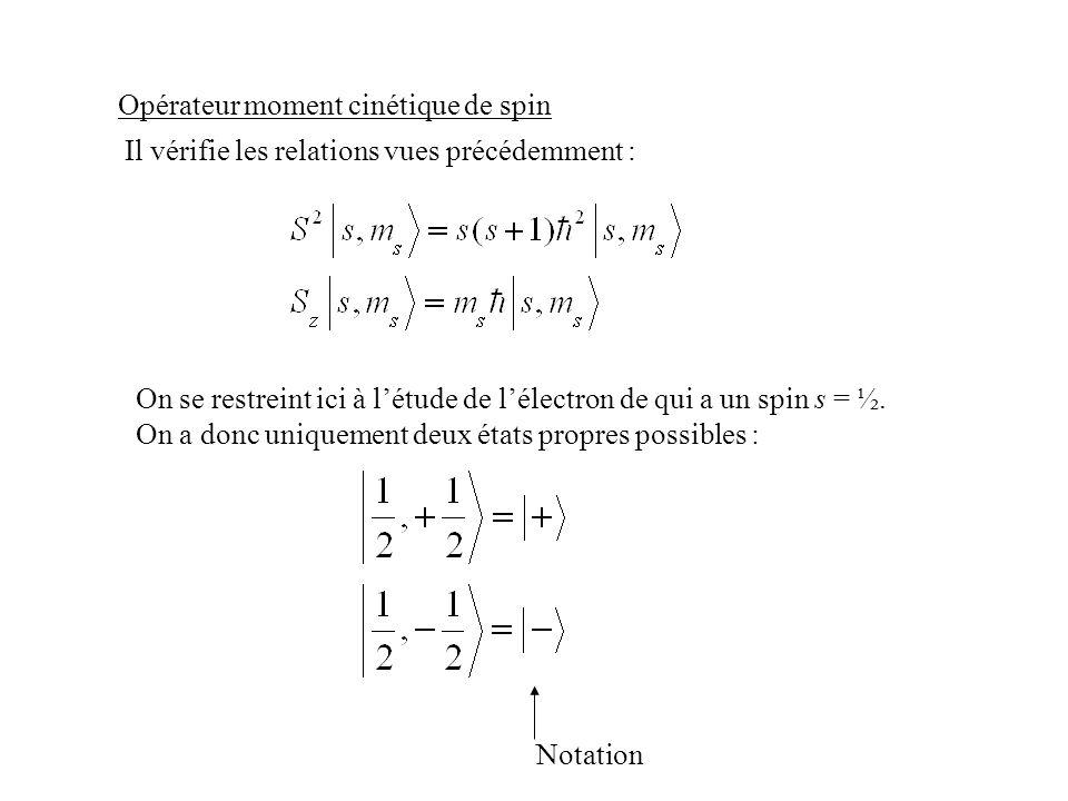 Opérateur moment cinétique de spin On se restreint ici à létude de lélectron de qui a un spin s = ½. On a donc uniquement deux états propres possibles