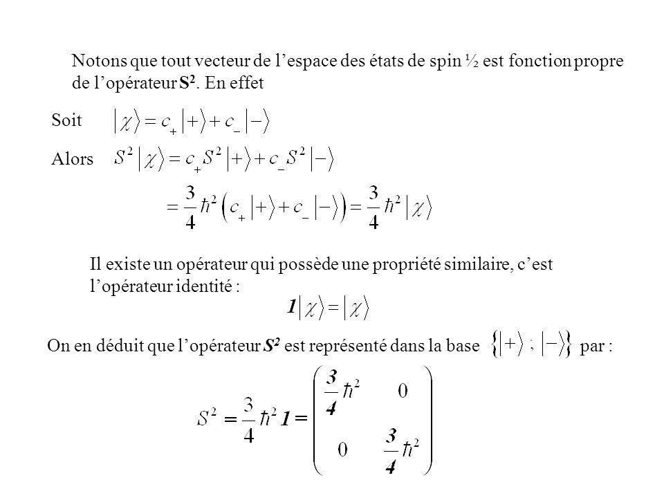 Notons que tout vecteur de lespace des états de spin ½ est fonction propre de lopérateur S 2. En effet Soit Alors Il existe un opérateur qui possède u