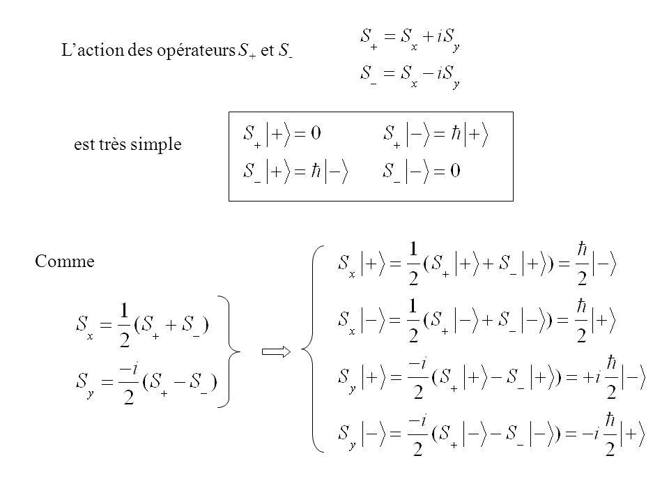 Laction des opérateurs S + et S - est très simple Comme