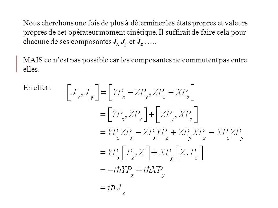 Finalement Où c l est une constante de normalisation Il suffit ensuit dappliquer L - pour trouver et de recommencer pour trouver les autres fonctions jusquà On peut montrer la relation générale : Les fonctions sont appelées harmoniques sphériques