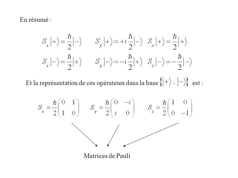 En résumé : Et la représentation de ces opérateurs dans la base est : Matrices de Pauli
