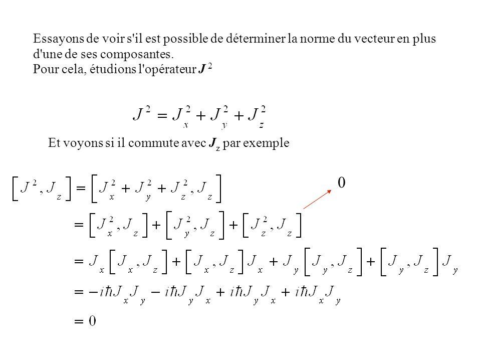 Essayons de voir s'il est possible de déterminer la norme du vecteur en plus d'une de ses composantes. Pour cela, étudions l'opérateur J 2 Et voyons s
