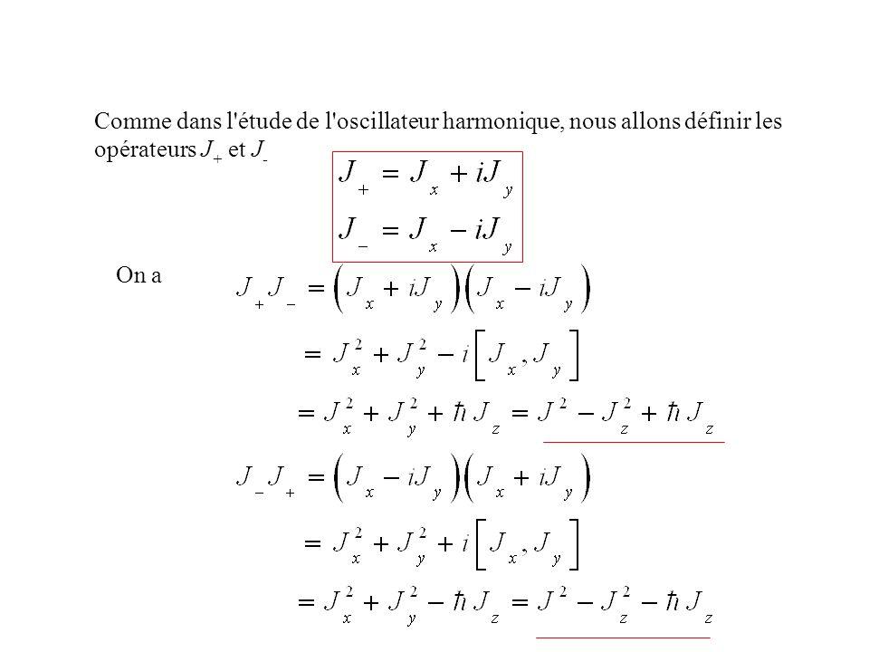 Comme dans l'étude de l'oscillateur harmonique, nous allons définir les opérateurs J + et J - On a