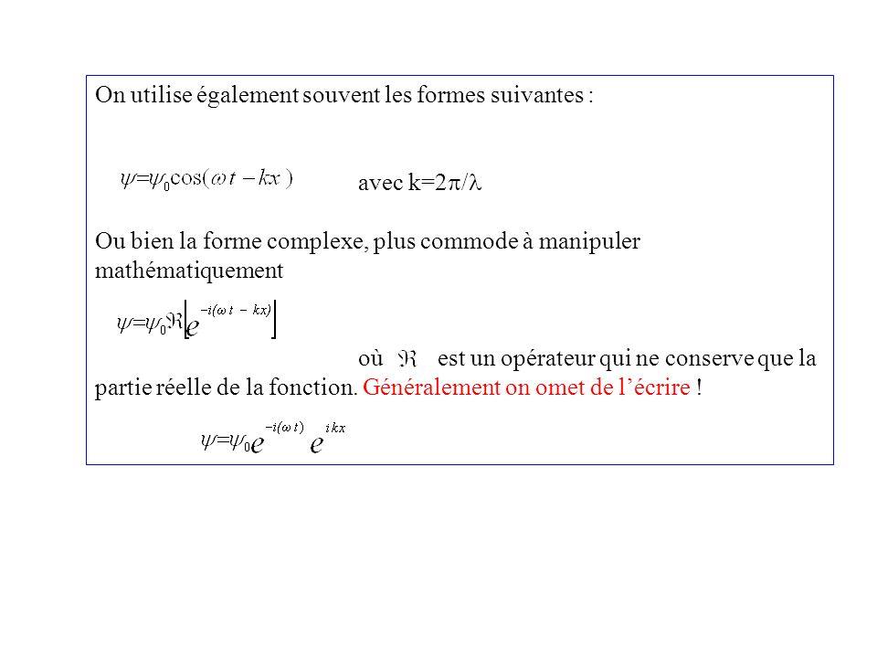 On utilise également souvent les formes suivantes : avec k=2 / Ou bien la forme complexe, plus commode à manipuler mathématiquement où est un opérateu