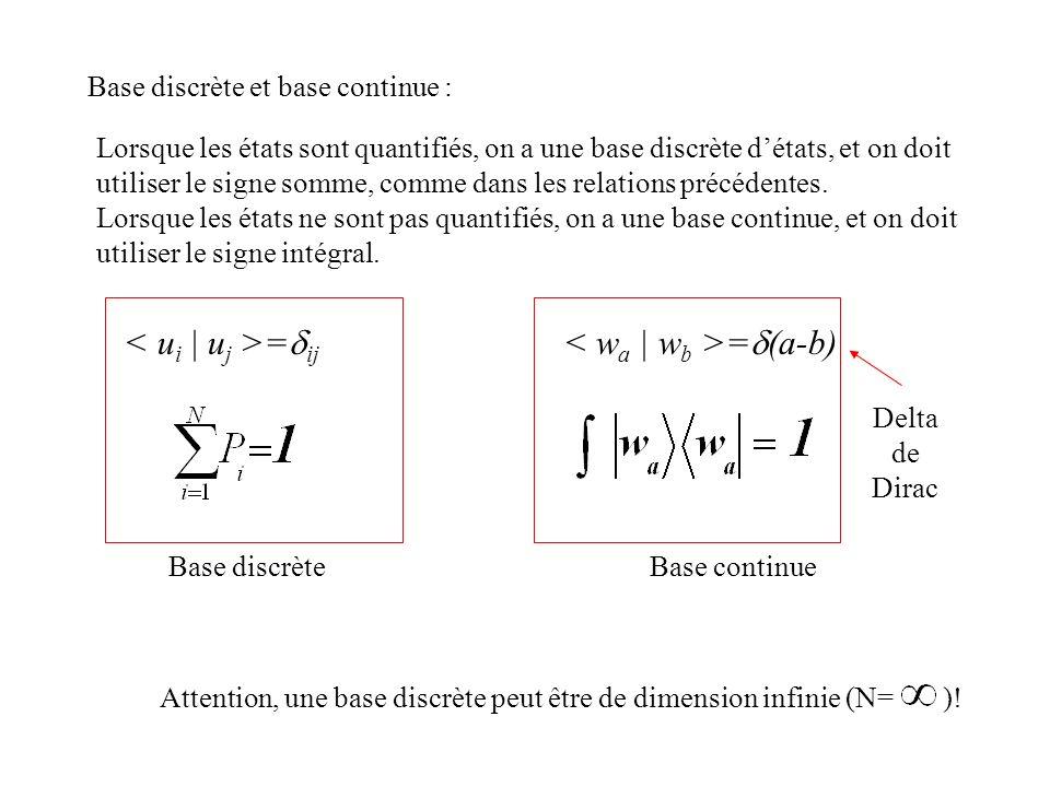 Base discrète et base continue : Lorsque les états sont quantifiés, on a une base discrète détats, et on doit utiliser le signe somme, comme dans les