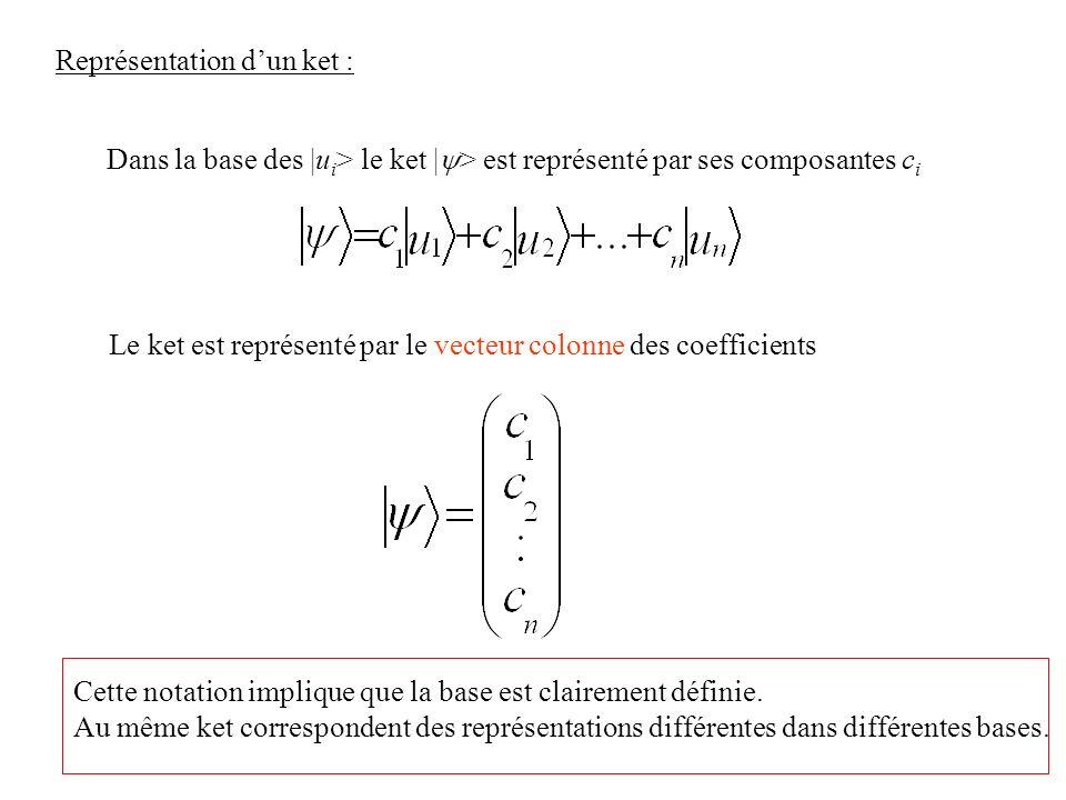 Représentation dun ket : Dans la base des |u i > le ket | > est représenté par ses composantes c i Le ket est représenté par le vecteur colonne des co
