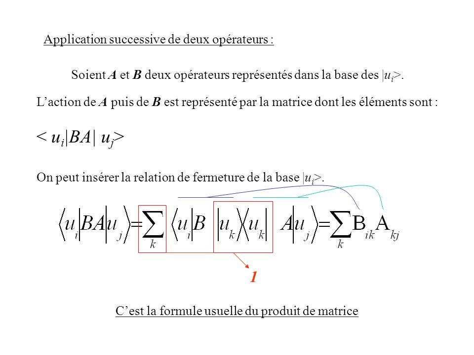 Laction de A puis de B est représenté par la matrice dont les éléments sont : On peut insérer la relation de fermeture de la base |u i >. Application