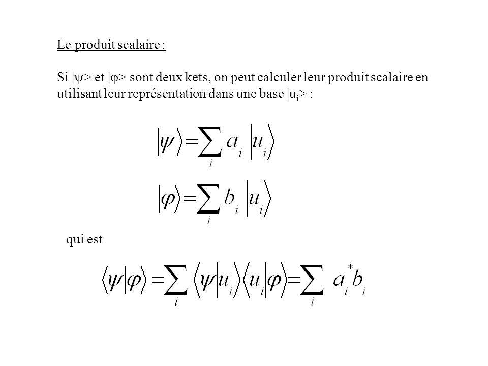 Le produit scalaire : Si | > et | > sont deux kets, on peut calculer leur produit scalaire en utilisant leur représentation dans une base |u i > : qui