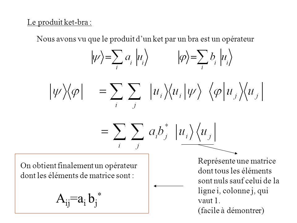 Le produit ket-bra : Nous avons vu que le produit dun ket par un bra est un opérateur Représente une matrice dont tous les éléments sont nuls sauf cel