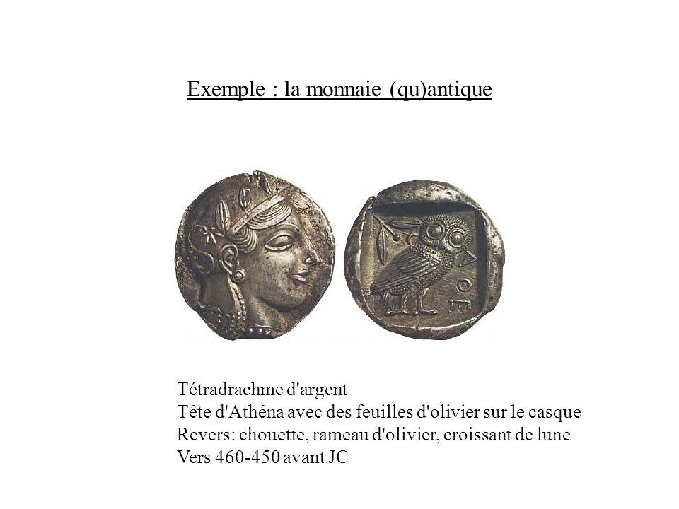 Exemple : la monnaie (qu)antique Tétradrachme d'argent Tête d'Athéna avec des feuilles d'olivier sur le casque Revers: chouette, rameau d'olivier, cro