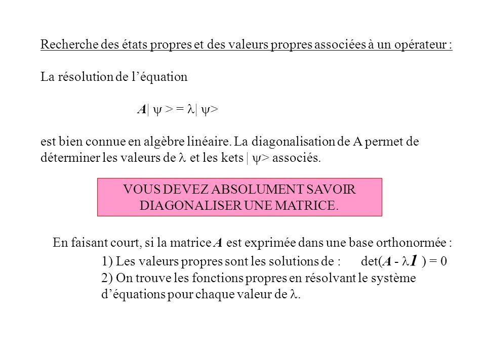 Recherche des états propres et des valeurs propres associées à un opérateur : La résolution de léquation A| > = | > est bien connue en algèbre linéair
