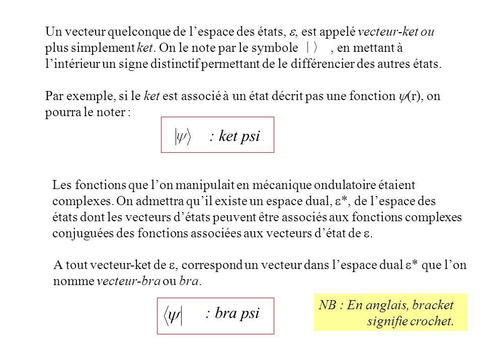 Un vecteur quelconque de lespace des états,, est appelé vecteur-ket ou plus simplement ket. On le note par le symbole, en mettant à lintérieur un sign