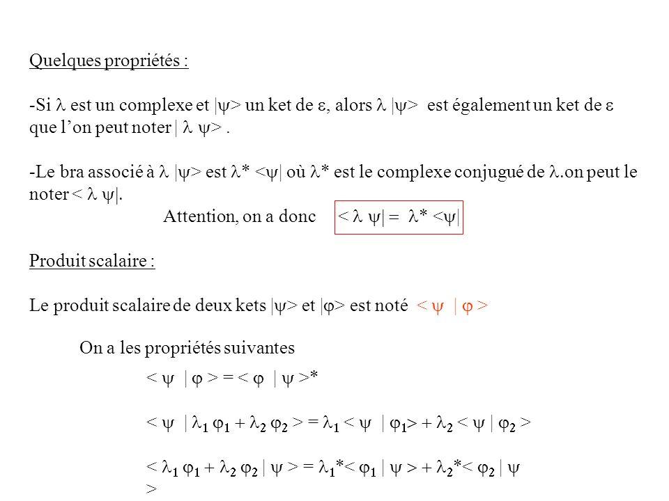 Quelques propriétés : -Si est un complexe et | > un ket de, alors | > est également un ket de que lon peut noter | >. -Le bra associé à | > est * < |