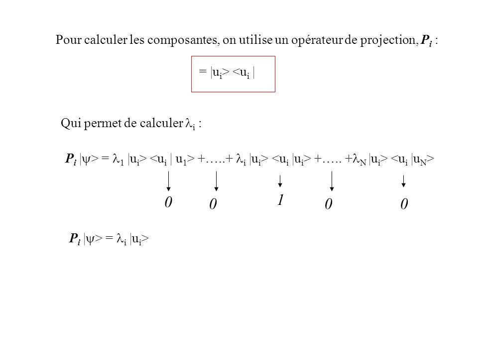 Pour calculer les composantes, on utilise un opérateur de projection, P i : = |u i > <u i | Qui permet de calculer i : P i | > = 1 |u i > +…..+ i |u i
