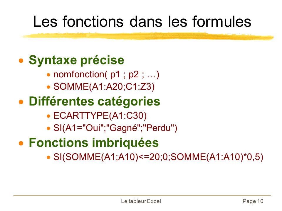 Le tableur ExcelPage 10 Les fonctions dans les formules Syntaxe précise nomfonction( p1 ; p2 ; …) SOMME(A1:A20;C1:Z3) Différentes catégories ECARTTYPE