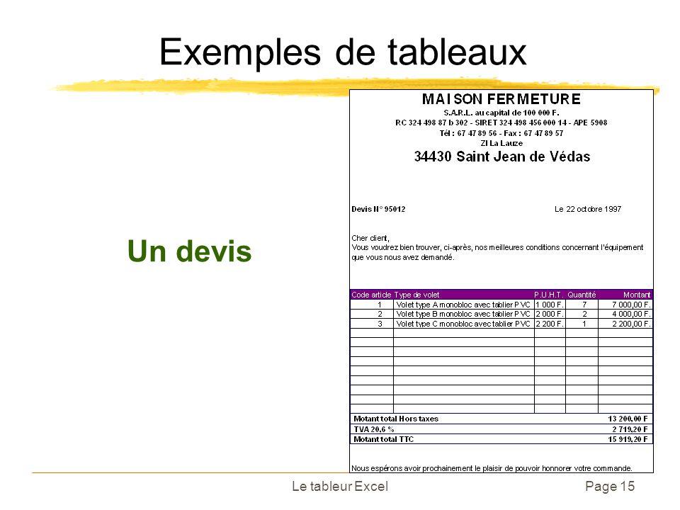 Le tableur ExcelPage 15 Exemples de tableaux Un devis