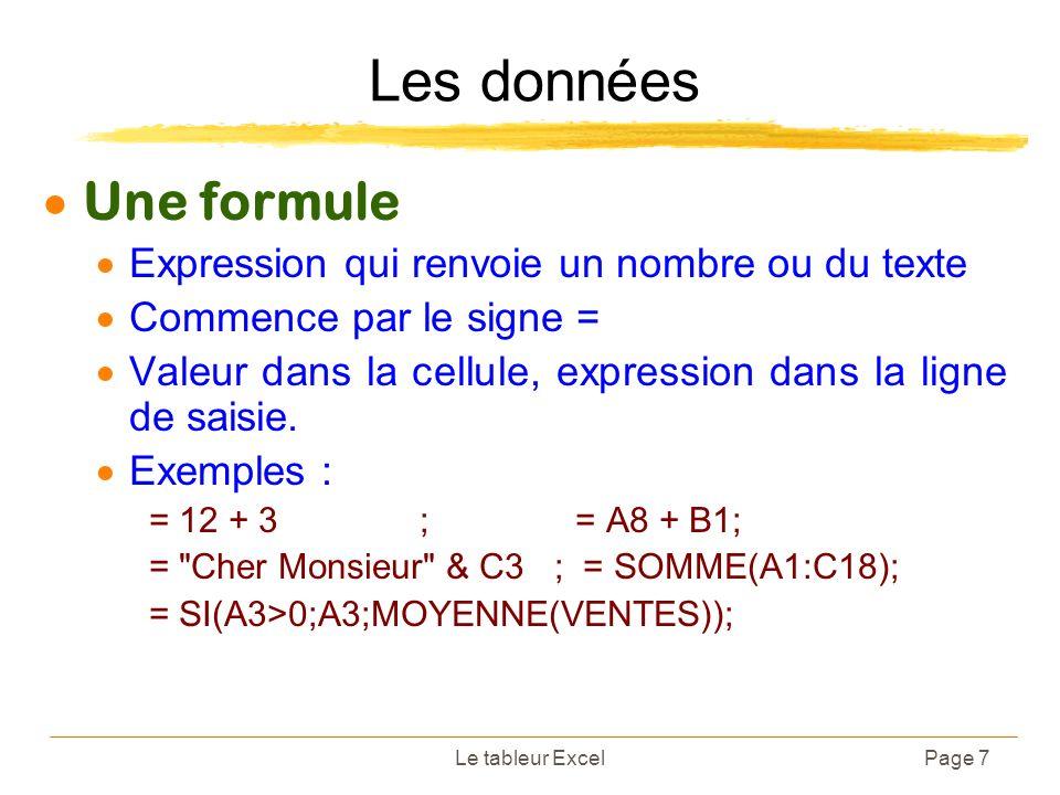 Le tableur ExcelPage 7 Les données Une formule Expression qui renvoie un nombre ou du texte Commence par le signe = Valeur dans la cellule, expression