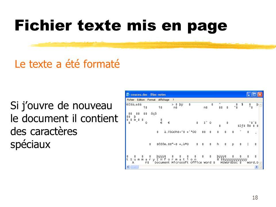 Fichier texte mis en page Le texte a été formaté Si jouvre de nouveau le document il contient des caractères spéciaux 18