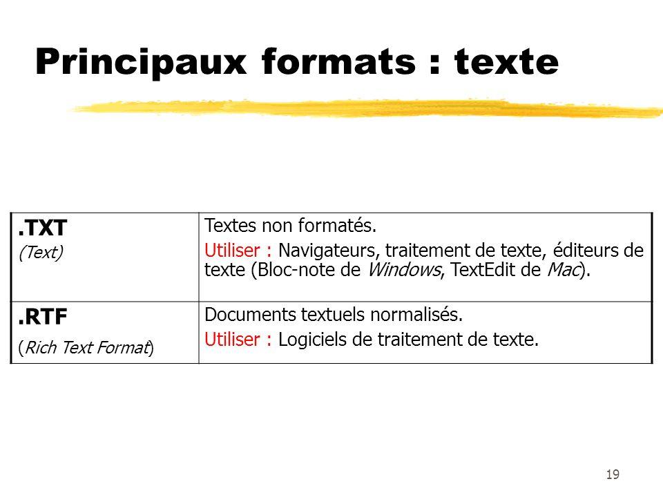 Principaux formats : texte.TXT (Text) Textes non formatés. Utiliser : Navigateurs, traitement de texte, éditeurs de texte (Bloc-note de Windows, TextE