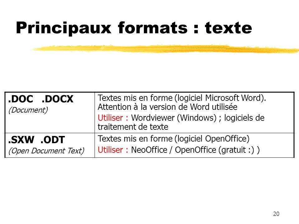Principaux formats : texte.DOC.DOCX (Document) Textes mis en forme (logiciel Microsoft Word). Attention à la version de Word utilisée Utiliser : Wordv