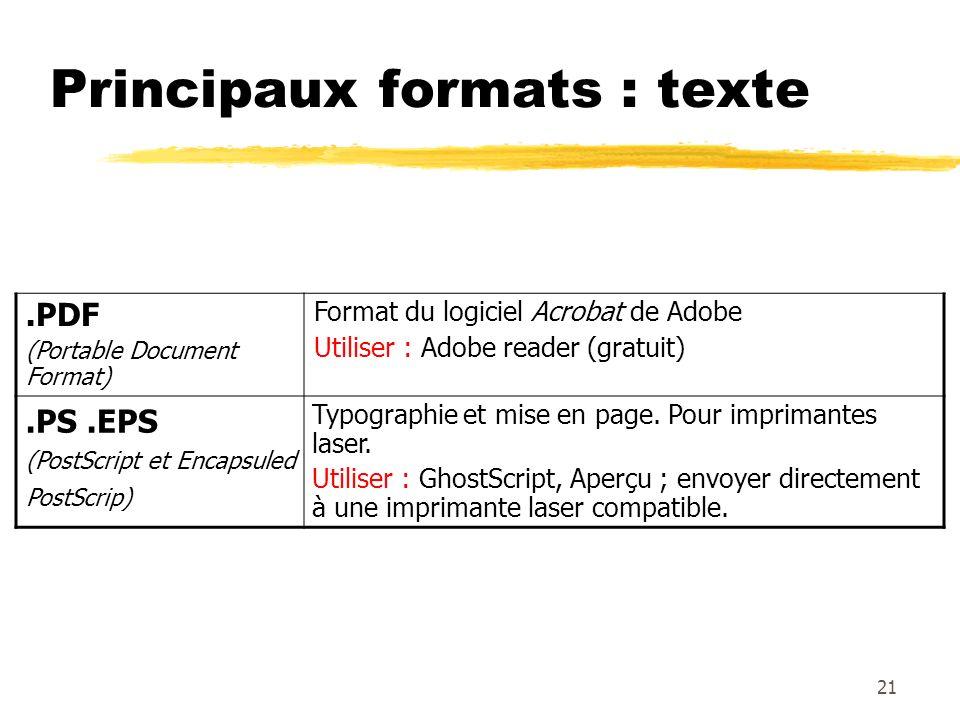 Principaux formats : texte.PDF (Portable Document Format) Format du logiciel Acrobat de Adobe Utiliser : Adobe reader (gratuit).PS.EPS (PostScript et