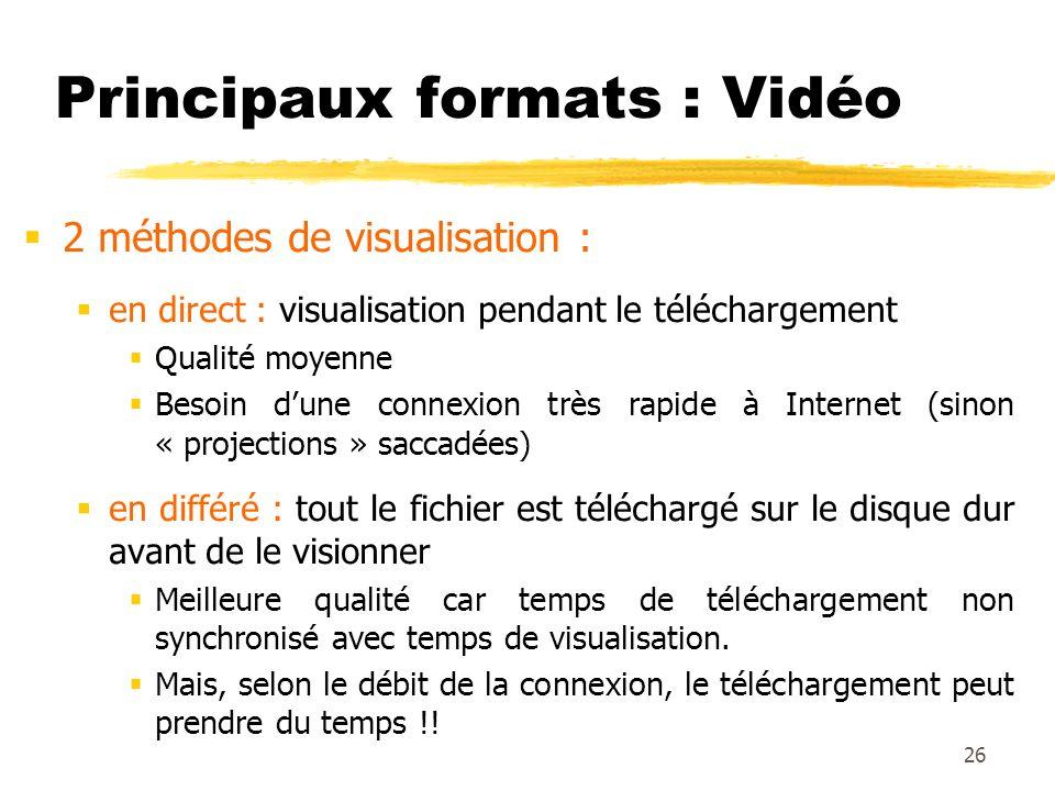 Principaux formats : Vidéo 2 méthodes de visualisation : en direct : visualisation pendant le téléchargement Qualité moyenne Besoin dune connexion trè