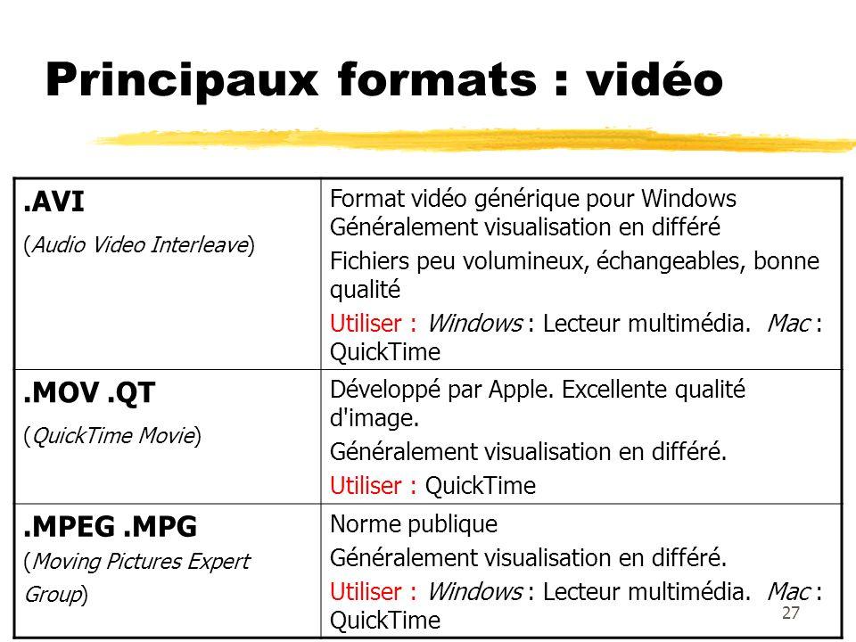 Principaux formats : vidéo.AVI (Audio Video Interleave) Format vidéo générique pour Windows Généralement visualisation en différé Fichiers peu volumin