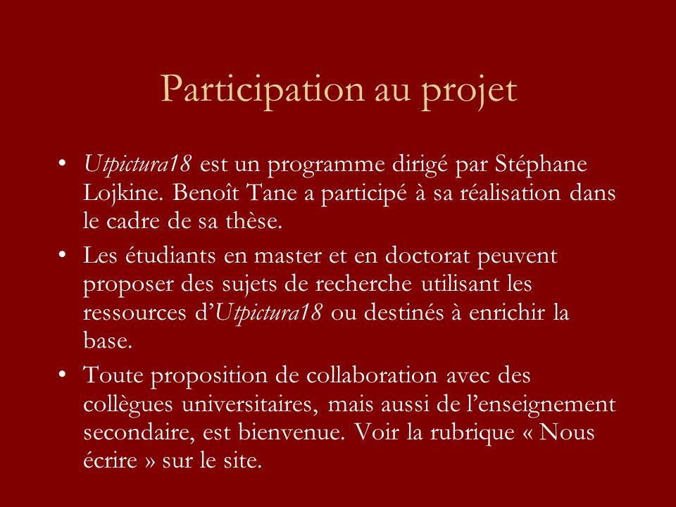 Participation au projet Utpictura18 est un programme dirigé par Stéphane Lojkine. Benoît Tane a participé à sa réalisation dans le cadre de sa thèse.