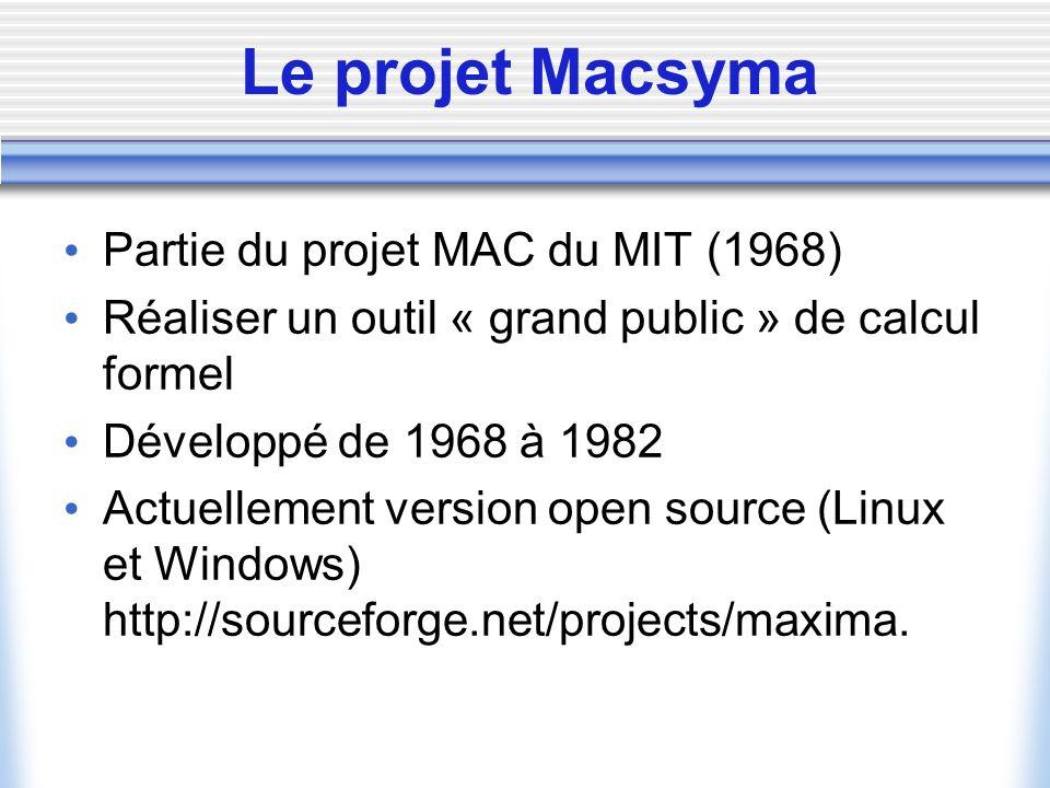 Le projet Macsyma Partie du projet MAC du MIT (1968) Réaliser un outil « grand public » de calcul formel Développé de 1968 à 1982 Actuellement version