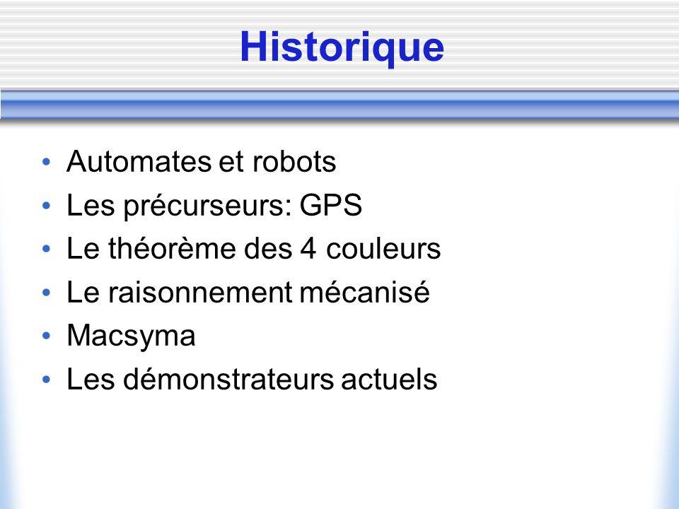 Historique Automates et robots Les précurseurs: GPS Le théorème des 4 couleurs Le raisonnement mécanisé Macsyma Les démonstrateurs actuels