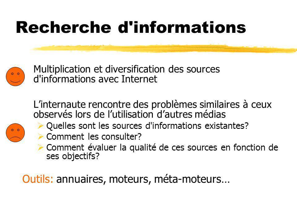 Recherche d informations Multiplication et diversification des sources d informations avec Internet Linternaute rencontre des problèmes similaires à ceux observés lors de lutilisation dautres médias Quelles sont les sources d informations existantes.
