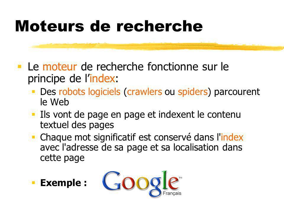 Moteurs de recherche Le moteur de recherche fonctionne sur le principe de lindex: Des robots logiciels (crawlers ou spiders) parcourent le Web Ils vont de page en page et indexent le contenu textuel des pages Chaque mot significatif est conservé dans l index avec l adresse de sa page et sa localisation dans cette page Exemple :