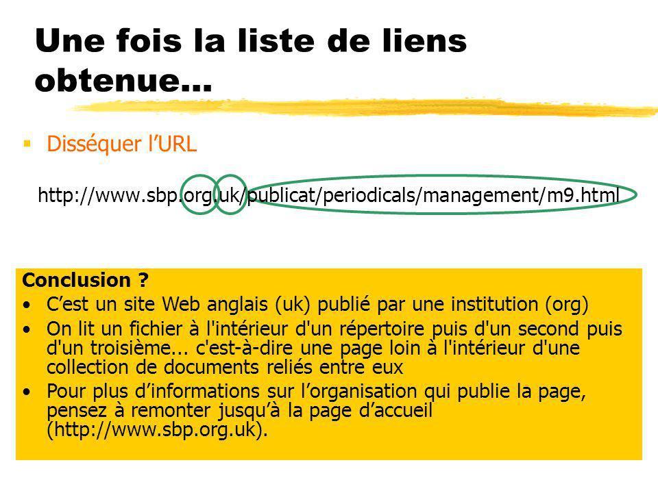 Une fois la liste de liens obtenue… Disséquer lURL http://www.sbp.org.uk/publicat/periodicals/management/m9.html Conclusion .