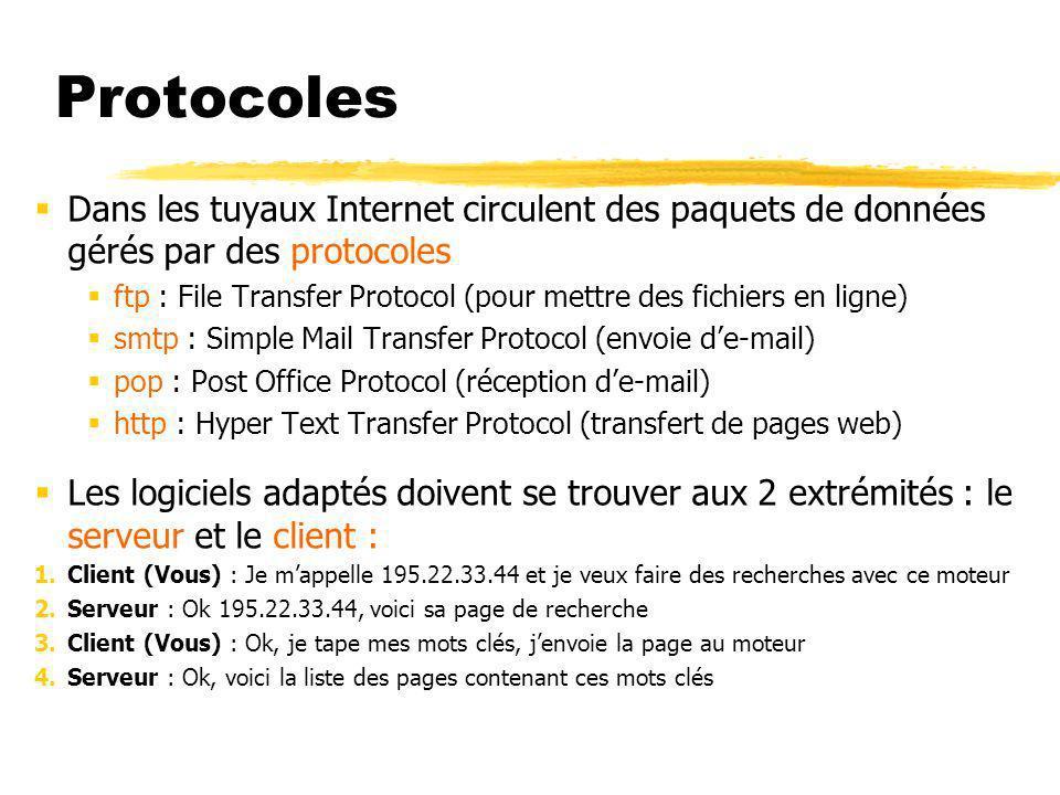 Protocoles Dans les tuyaux Internet circulent des paquets de données gérés par des protocoles ftp : File Transfer Protocol (pour mettre des fichiers en ligne) smtp : Simple Mail Transfer Protocol (envoie de-mail) pop : Post Office Protocol (réception de-mail) http : Hyper Text Transfer Protocol (transfert de pages web) Les logiciels adaptés doivent se trouver aux 2 extrémités : le serveur et le client : 1.Client (Vous) : Je mappelle 195.22.33.44 et je veux faire des recherches avec ce moteur 2.Serveur : Ok 195.22.33.44, voici sa page de recherche 3.Client (Vous) : Ok, je tape mes mots clés, jenvoie la page au moteur 4.Serveur : Ok, voici la liste des pages contenant ces mots clés