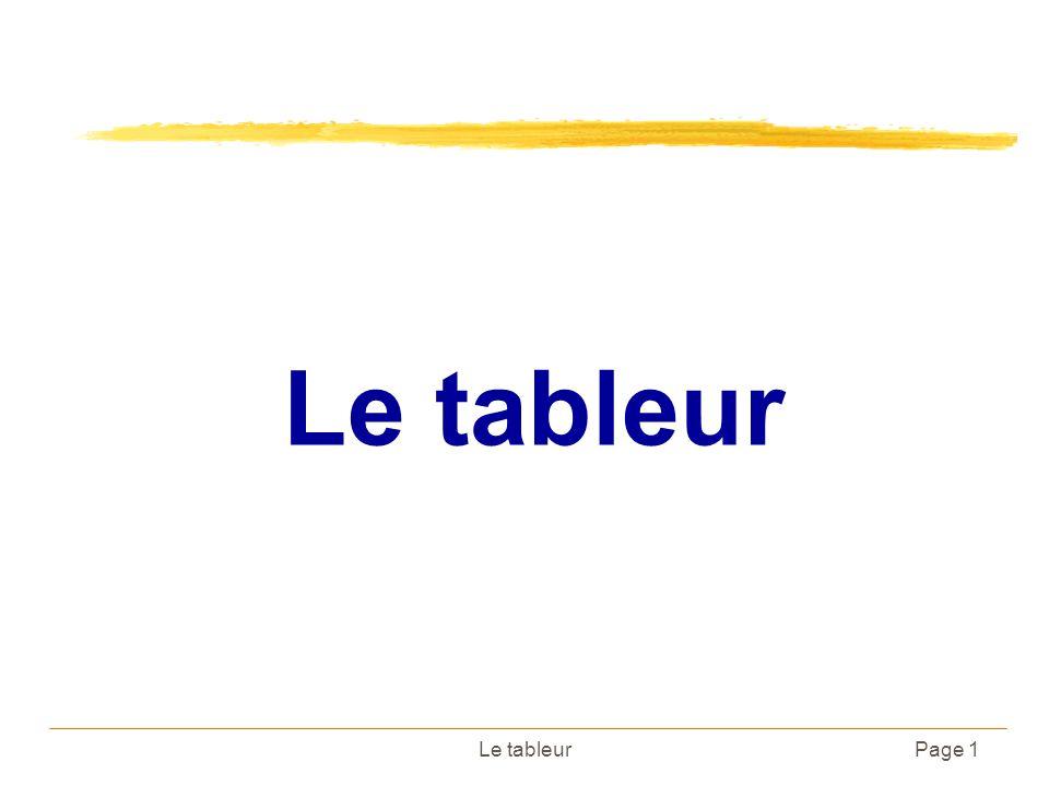 Le tableurPage 1 Le tableur