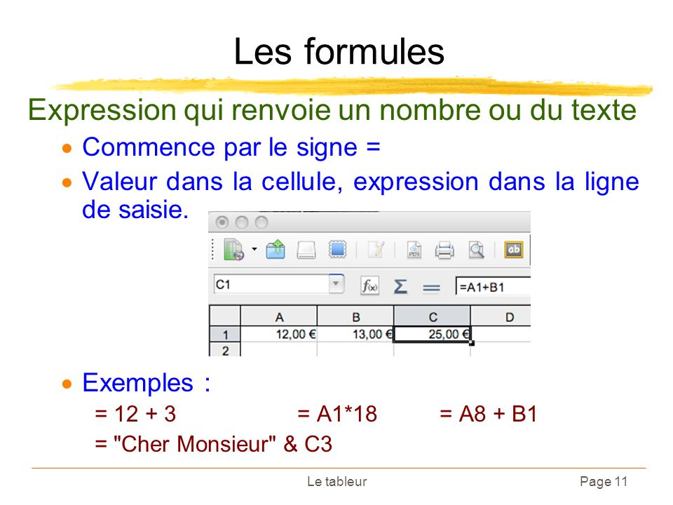 Le tableurPage 11 Les formules Expression qui renvoie un nombre ou du texte Commence par le signe = Valeur dans la cellule, expression dans la ligne d